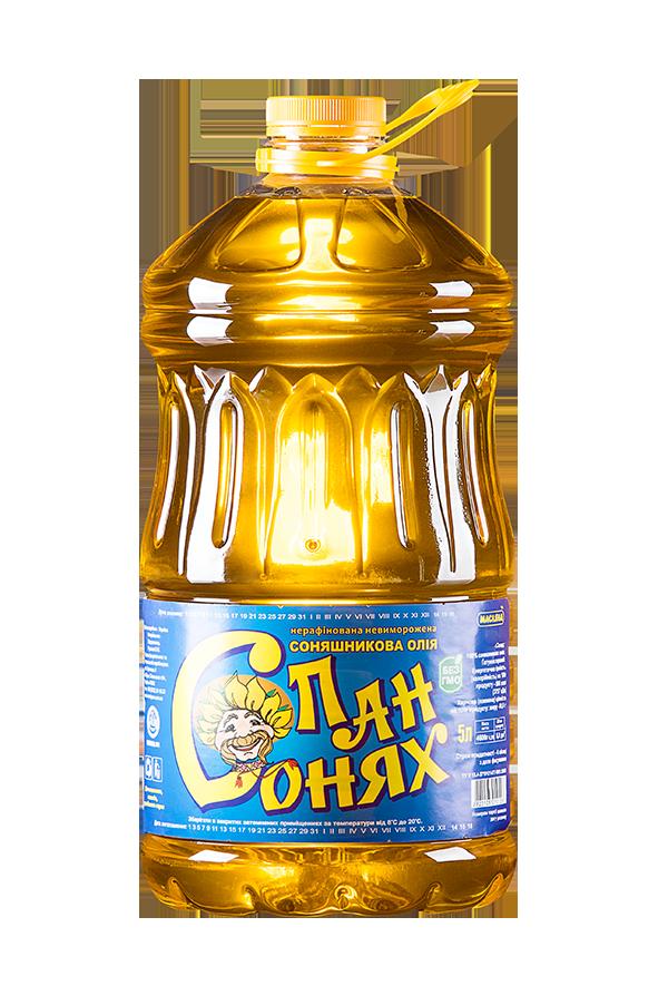 """Олія """"Пан Сонях"""" соняшникова нерафінована невиморожена Ґатунок перший 5л"""