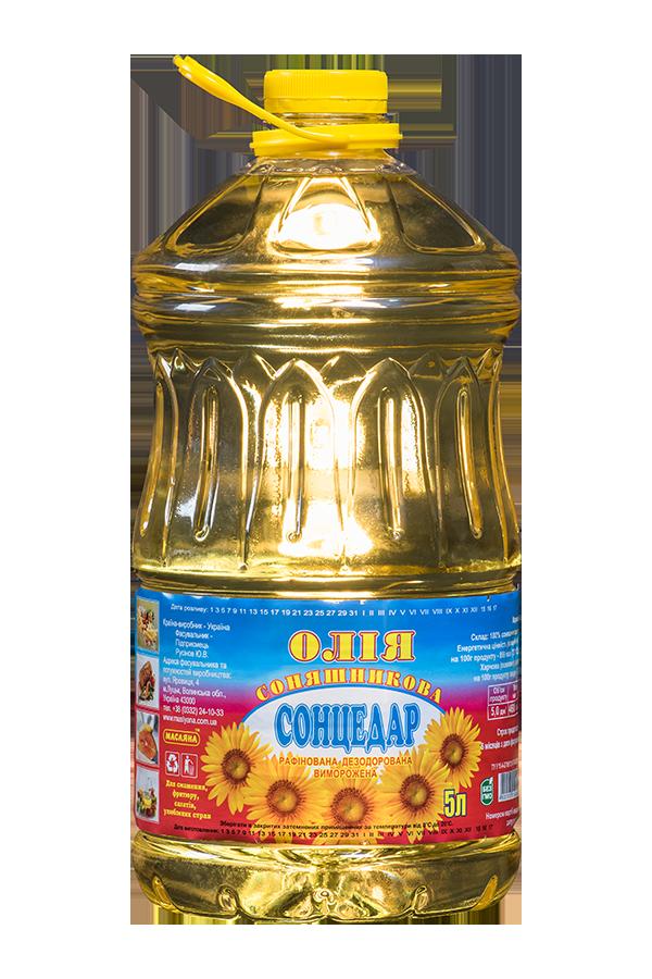 """Олія """"Сонцедар"""" соняшникова рафінована дезодорована виморожена марки «П» 5л"""