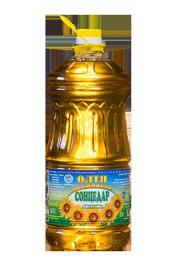 Sontsedar Unrefined Unfrozen First grade Sunflower Oil 3 litres